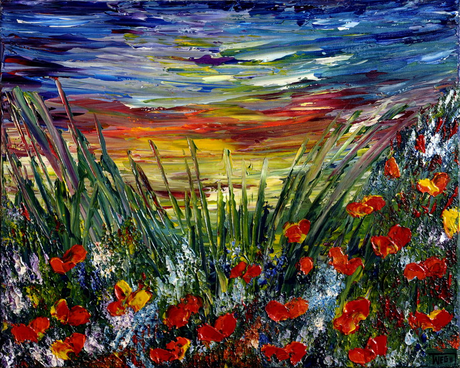 poppies_field_sunset_by_artbyteresa-d55uwyn