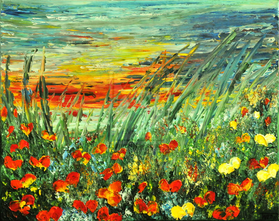 sunset_meadow_series_by_artbyteresa-d4sbmsk