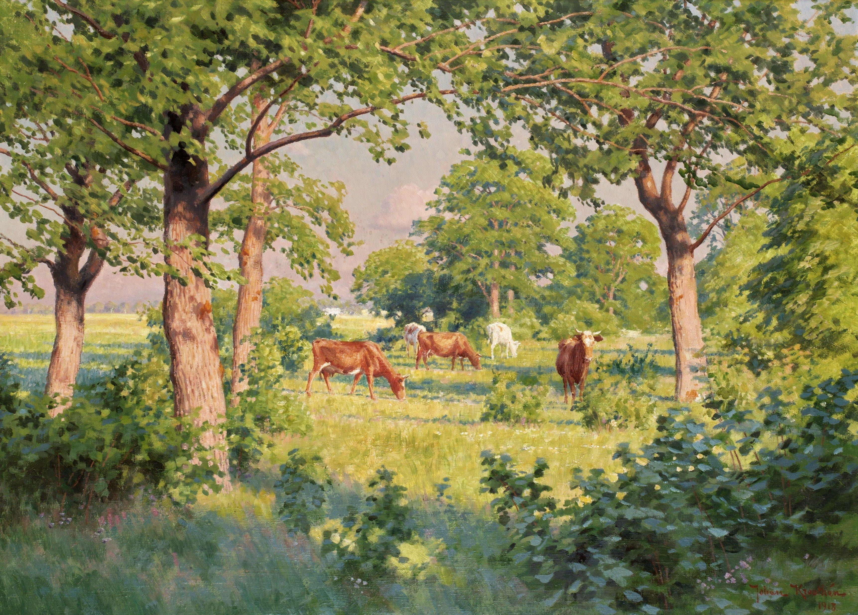 Sommarlandskap med kor