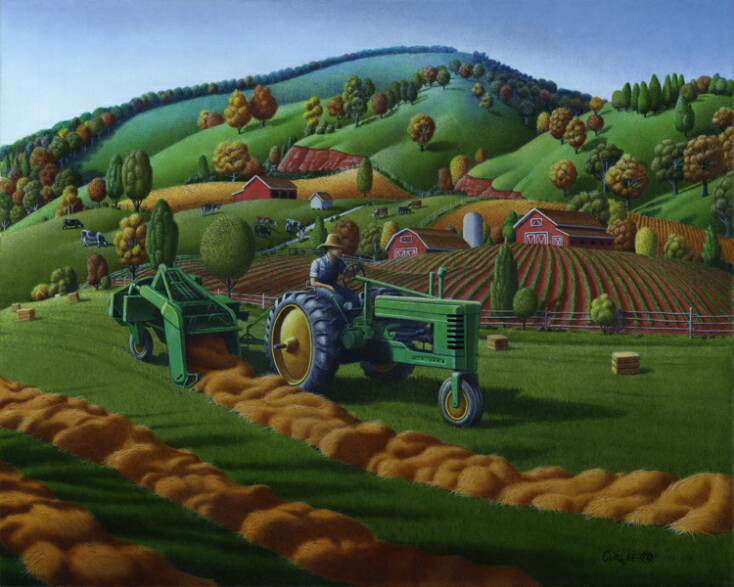Country-Farm-Life-Tractor-Baling-Hay-Americana-Folk-Art-Oil-Painting