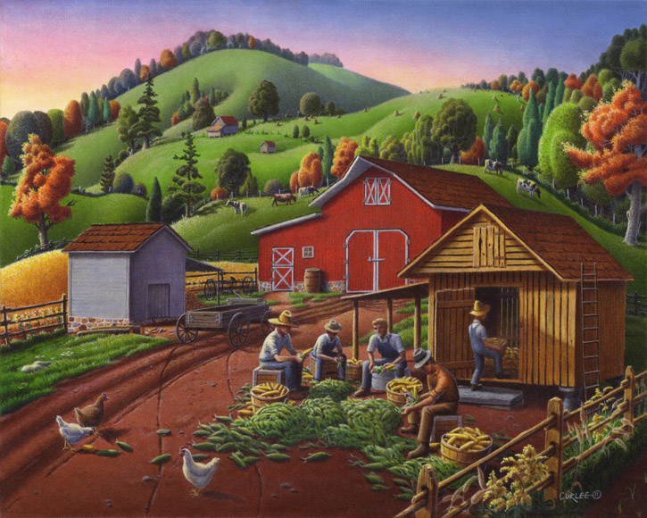 Shucking-Storing-Corn-Crib-folk-art-landscape72dpi