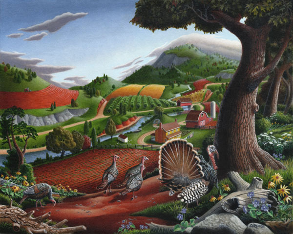 big_Turkeys-In-The-Hills-Fok-Art-Mountain-Fantasy-Farm-Landscape-theartgallerist