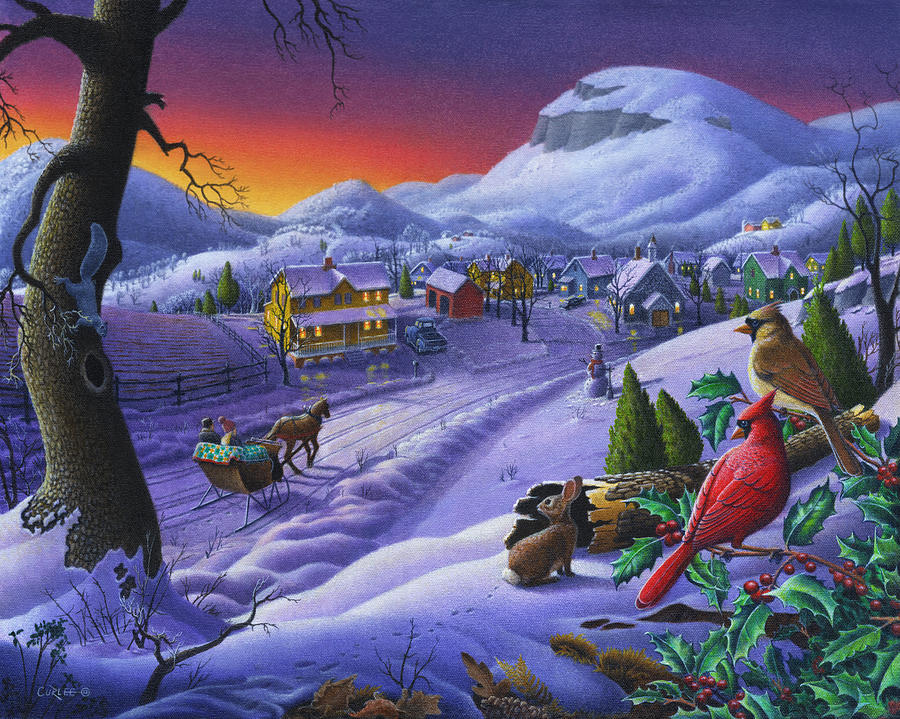 small-town-cardinals-christmas-sleigh-ride-rural-farm-landscape-walt-curlee