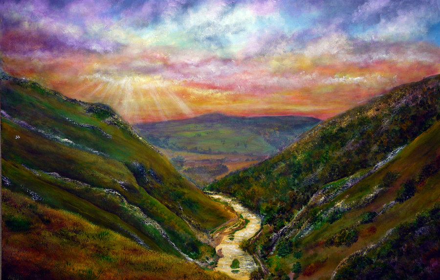 dovedale_sunset_painting_by_annmariebone-d53t4tm
