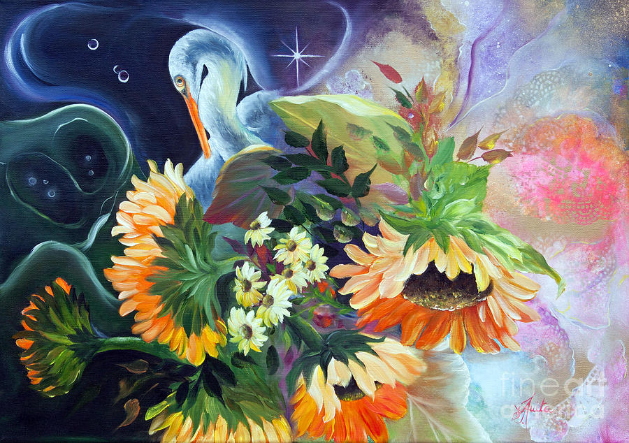 egret-in-the-sunflowers-ilona-anita-tigges-goetze
