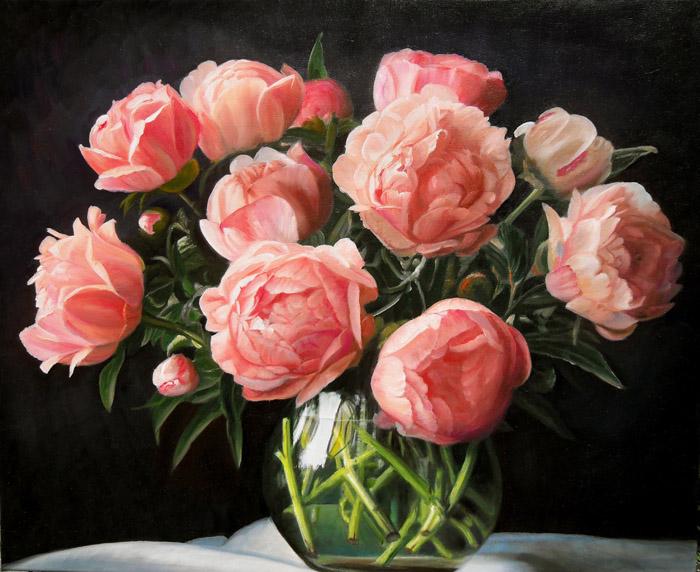 розовые пионы картина