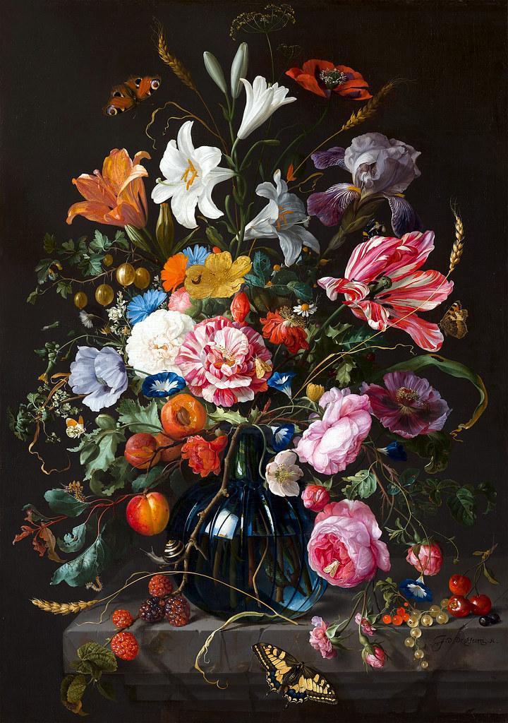 Благоухающие розы и аппетитные классические натюрморты Яна Давидса де Хема