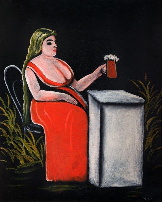 Нико Пиросмани - Женщина с кружкой пива