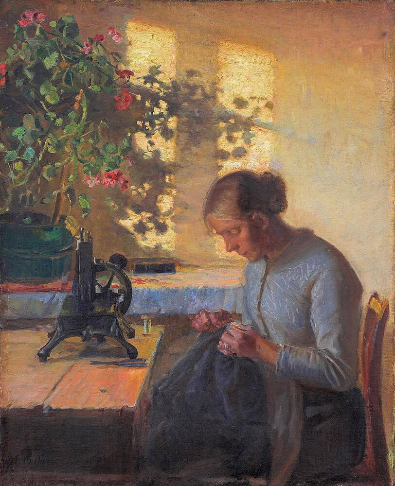 Анна Анкер - Жена рыбака за шитьем