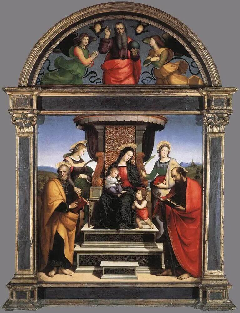 Рафаэль Санти - Алтарь дома Колонна. Мадонна с младенцем на троне и со святыми (Мадонна в алтаре)