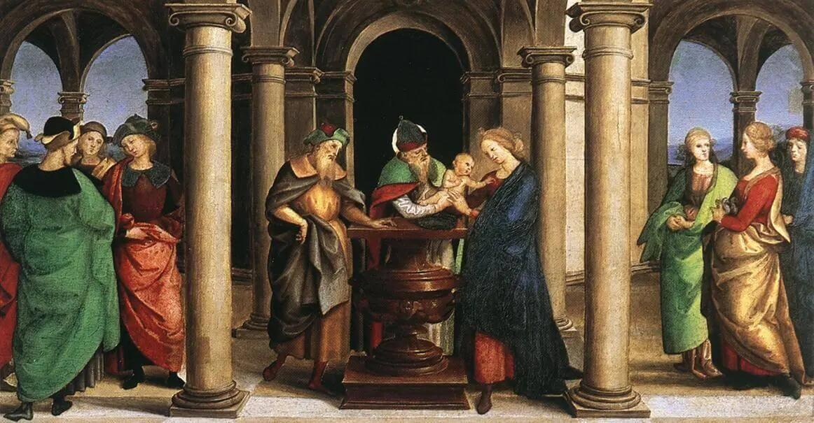 Рафаэль Санти - Введение во храм. Алтарь Одди. Пределла